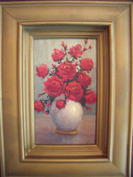 "RITZLER SIGNED SMALL OIL PAINTING ""RED ROSES IN VASE"" DEEP LOVELY GOLD FRAME"