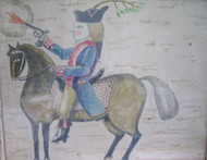 "ANTONIO ROMANO ""WASHINGTON ON HORSEBACK"" LISTED ARTIST WATERCOLOR OLD FRAME"