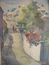 "LUCILLE HOBBIE (1915- 2008) LISTED 1959 ""SHORE WALK"" WATERCOLOR"