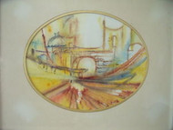 RITA L. FROST ABSTRACT CITYSCAPE CA 1970 MIXED MEDIA SIGNED, FRAMED, DEDICATED