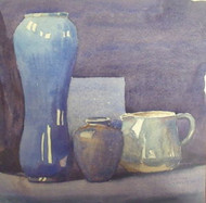 F.W. HASTINGS SOUTHWEST HARBOR MAINE BLUE STILLIFE WATERCOLOR SIGNED/DATED 1910