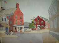 """F.W. HASTINGS SOUTHWEST HARBOR MAINE """"NANTUCKET MAIN ST"""" WATERCOLOR EARLY 20TH C"""