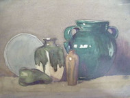 F.W. HASTINGS SOUTHWEST HARBOR MAINE GREEN STILLIFE WATERCOLOR SIGNED/DATED 1910