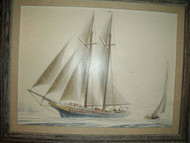 CAMPBELL SIGNED PAIR OIL ON BOARD BLEU SCHOONER/SAILING SHIPS C1960 DEEP FRAMES