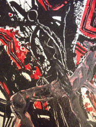FIGURAL RIDE IN BLACK, GREY & RED ABSTRACT PAINTING KARL SCHWARTZ NYC OIL SIGNED