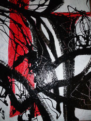 STUDY IN RED, BLACK & WHITE ABSTRACT PAINTING KARL SCHWARTZ NYC OIL SIGNED 310681302809
