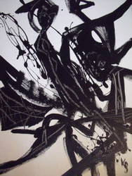 BLACK & WHITE SPACE OPERA ABSTRACT PAINTING KARL SCHWARTZ NYC OIL SIGNED