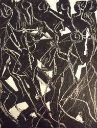 FIGURAL DANCE IN BLACK & WHITE ABSTRACT PAINTING KARL SCHWARTZ NYC OIL SIGNED