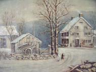 WINTER IN THE COUNTRY A COLD MORNING CURRIER & IVES-AFTER OIL CA 1880S-1900