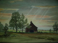 ARNOLD NELSON ANDERSON LISTED MAINE SUNLIGHT BARN WATERCOLOR CA 1932