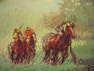 "A.BIGDUNGLADEWA LISTED OIL PAINTING ""HORSE RACING"" 1993"