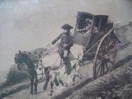 R. GOUBIE SIGNED ETCHING 1889 THE POSTILLION GOLD FRAME