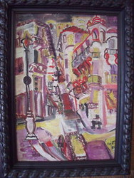 "ABSTRACT ""STREET VIEW"" OIL ON CANVAS 1951 PARIS"