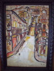 "ABSTRACT ""STREET VIEW YELLOW"" OIL ON CANVAS 1951 PARIS"