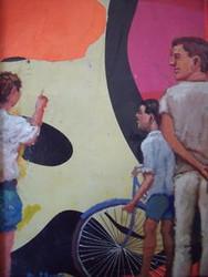 "COLLINS THOMAS (1928- 1998) PHILA PA ""STREET SCENE"" MIXED MEDIA"