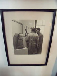 B&W FRAMED PHOTO 2 MEN AT SCULPTURE EXHIBIT CA 1960