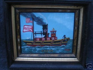 "WELSH AMER  FOLK ART PAINTING ""TUGBOAT OLIVER 1886"" VICTORIAN DEEP FRAME"