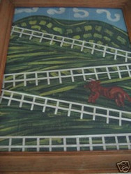 WELSH AMER SIGNED FOLK ART PAINTING RED BULL AMER FARM