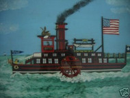 "WELSH AMERICAN SIGNED FOLK ART"" BLACKSWAN PADDLE BOAT"""