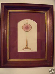 19thC WATERCOLOR AND PEN & INK  FIRE SCREEN ILLUSTRATION OLD WALNUT FRAME