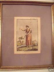 """POLIMNIA"" 19TH C ENGRAVING HAND COLORED PRINT 1 OF 3 SET"