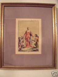 """""""OPI"""" 19TH C ENGRAVING HAND COLORED PRINT 1 OF 3 SET"""