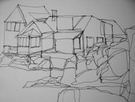 "RICHARD C. KARWOSKI ""EAST HAMPTON, NY"" LINE DRAWING SIGNED CA 1963"