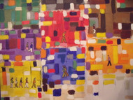 "RICHARD AHR 1929-2012 NEW YORK CITY ""SIDEWALK BOOGIE WOOGIE"" ACRYLIC ON LINEN"