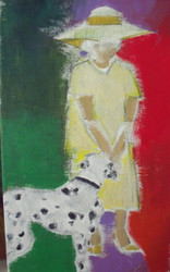 "RICHARD AHR 1929-2012 NEW YORK CITY ""WALKING THE DALMATION"" ACRYLIC ON LINEN"