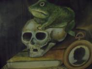 """ANTONIO ROMANO """"STILLIFE FROG & SKULL"""" WATERCOLOR & TEMPURA FOLK ART WALNUT FRAME"""