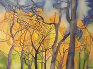 """RICHARD C. KARWOSKI NYC """"TREES OF WASHINGTON SQUARE SUNSET """" WATERCOLOR SIGNED"""