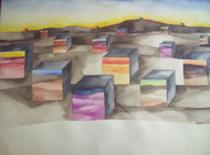 "RICHARD C. KARWOSKI (1938-1993) NYC ""UNTITLED CUBES "" WATERCOLOR SIGNED"