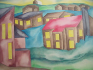 "RICHARD C. KARWOSKI (1938-1993) NYC ""UNTITLED HOUSES"" WATERCOLOR SIGNED"