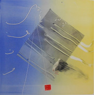 "RICHARD ROYCE AND DAVID CHAMBERLAIN DUETTE"" TILTED RECTANGLE"" MONOTYPE OIL ON PAPER"