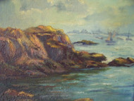 """ROCKY SEA COAST"" OIL ON CANVAS NEW ENGLAND"