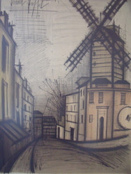 "BERNARD BUFFET ""LE MOULIN DE LA GALETE"" COLOR LITHOGRAPH PENCIL SIGNED 1965 FR"