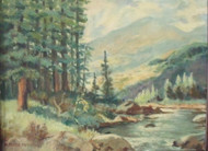 ALFRED R. MITCHELL AMER 1888 -1972 MOUNTAIN STREAM NEW HOPE IMPRESSIONIST LISTED