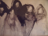 "GINO HOLLANDER (1924-2015)""FIGURES IN BLACK"" ACRYLIC 1967 ABSTRACT EXPRESSIONIST"