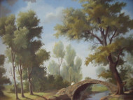 PAUL CROSTHWAITE 1911-1981 AMER THE BRIDGE OIL PAINTING NEW HOPE IMPRESSIONIST