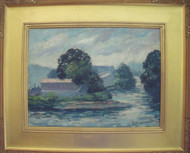 CESARE RICCIARDI OIL ALONG THE PENNSYLVANIA CANAL NEW HOPE IMPRESSIONIST C1955