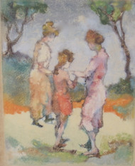 EDNA GASS TROIS FIGURES PAINTING NEW HOPE PA IMPRESSIONIST GOLD FRAME CA