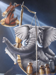 "MIKE HARPER ""REPUBLICANS & DEMOCRATS"" AIRBRUSH POLITICAL MAGAZINE ILLUSTRATION"