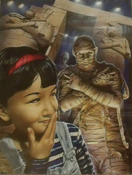 """MIKE HARPER (AMER 1967-) """"TUCK ME IN, MUMMY"""" SPINE CHILLERS BOOK COVER ILLUSTRATION 1997"""