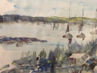 "ALFRED BIRDSEY ""BERMUDA HARBOR"" WATERCOLOR CUSTOM FRAME 2X MAT LISTED ARTIST"