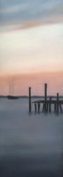 "Christie Scheele (AMER NYC). ""Harbor in Repose"" Oil On Linene Black Custom Frame 2005"