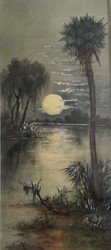 """""""OLD FLORIDA"""" CA 1920 Watercolor and Gouache Painting Gold Frame Silk Mat"""