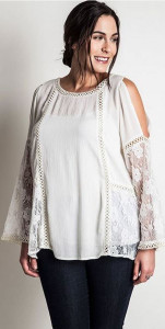 Lace Paneled Cold-Shoulder Top (plus)