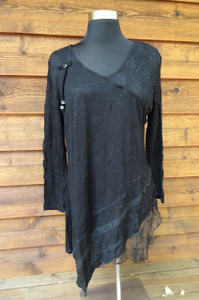 Lace Panel Black Tunic
