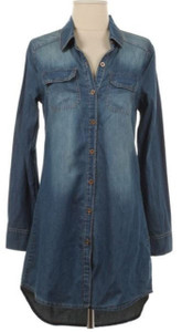 Button Down Denim Tunic Blouse  *RESTOCK*