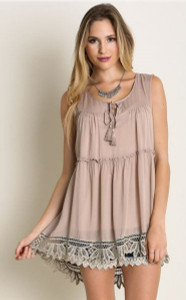 Semi Sheer Lace Trim Tunic